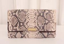 GERARD DAREL Beige Snakeskin Foldover Flap Envelope Clutch Handbag Bag Purse
