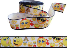"""Emoji Ribbon 1"""" Wide For Cakes, Crafts, Gift Wrap, Etc. 2m"""