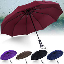 10 Ribs Strong Automatic Open Close Umbrella Folding Compact Windproof Travel ^