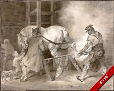 SHOEING A HORSE IN THE BLACKSMITH'S SHOP PAINTING ART REAL CANVAS GICLEEPRINT