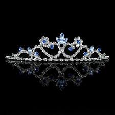 Kids Blue Flower Girl Children Wedding Prom Tiara Crown Headband - Kid Size