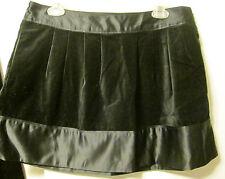 Erin Fetherston Black Stretch Faux Velvet Satin Trim Skirt Size 9 10 M NWT