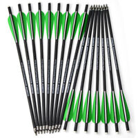 """16"""" Archery Crossbow Carbon Arrows Bolts Target Tips Hunting Shooting 4"""" Vanes"""