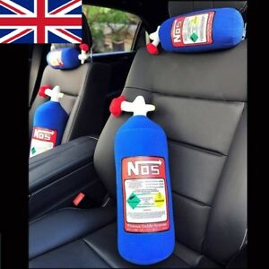 NOS Nitrous Oxide Bottle Tank Shape Car Home Pillow Plush Turbo JDM Toy 28*10cm