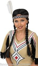 Ladies Indian Squaw Long Brown Plaited Pig Tails Fancy Dress Costume Outfit Wig
