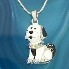 Dog Necklace Made With Swarovski Crystal Puppy White Black Multi Color Pendant