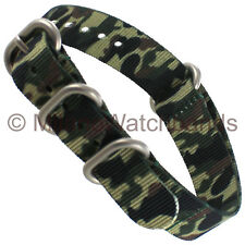 18mm Hadley Roma Mens Jungle Camo Nylon Waterproof Sport Wrap Watch Band