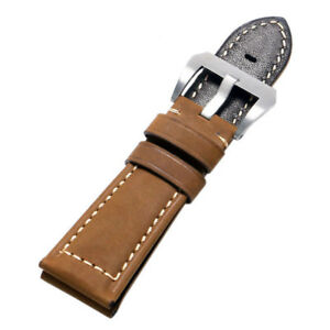 24/26mm Crazy Horse Leather Watch Band Pin Buckle Watchstrap Replacement