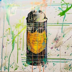 MR CLEVER ART LUXURY CHAMPAGNE SPRAY CAN PAINTING PAPER contemporary street pop