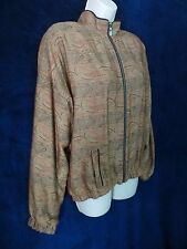 Tail Columbia Vtg Tan Gold Rust Paisley Tapestry Swirl Bomber Jacket Metal Zip L