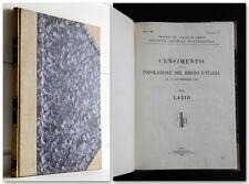 Lazio Roma 1921 CENSIMENTO DELLA POPOLAZIONE DEL REGNO D'ITALIA