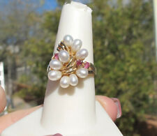 Large Flowing 9 White Pearl & Ruby Cluster Ring~ Solid 14KTYG , sz 7-1/2