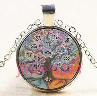 Zodiac Tree of Life Cabochon Tibetan silver Glass Chain Pendant Necklace #3750