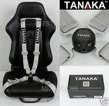 TANAKA UNIVERSAL GRAY 4 POINT CAMLOCK QUICK RELEASE RACING SEAT BELT HARNESS 2""