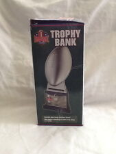 """Collectible Fantasy Football League Trophy Bank Lockable 12"""" Tall Silver Plastic"""