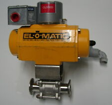 """El-O-Matic 1"""" Pneumatic Butterfly Valve Tri-Clamp-USED"""