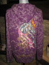 ED HARDY CHRISTIAN AUDIGIER LOGO PLUM EMBELLISH HOODED ZIP SWEATER SIZE MEDIUM M