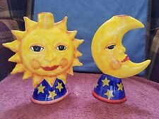 RARE~~L'ARCOBALENO by FORTINI~~Made in Italy~~CERAMIC SUN & MOON CANDLE HOLDERS