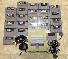 Super Nintendo SNES Bundle 23 Games W/ Controllers Cords Mario Madden Tecmo LOT