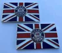 Pair of MORRIS Union Jack GB Brass Enamel Classic Car Badges - Self Adhesive