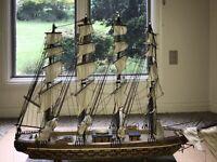 Rare Antique Model Ship Ohio Frigate Sailing Boat Hand Made Wood 1960's
