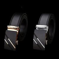Men's Genuine Leather Automatic Buckle Black Waist Strap Belt Waistband Gift New