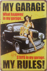 Sexy pin up girl metal plaque Vintage retro 40s 50s 60s garage man cave Tin sign
