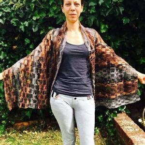 Brown-gray multi colored bohemian style shawl-poncho/all seasons shawl