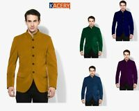 Mens  Mustard Blazer Slim Fit Velvet Formal Smart Dinner Jacket New -BL103