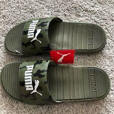 Puma Cool Cat Camo Men's Slides Size 9 Olive & White Slippers Sandals NWT!