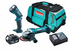 Makita DGA452 - 2x BL1840 - 1x DC18RC - 1x LXT400 Heavy Duty Bag - 1x BML185