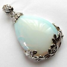 "*LARGE OPALITE DROP PENDANT WITH FLORAL FRAME & 20"" CHAIN**"