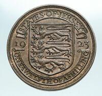 1923 JERSEY under UK King George V Shield OLD Genuine 1/12 Shilling Coin i84241