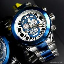 Invicta Skull Collection Skeletonized Chronograph Blue Two Tone 50mm Watch New