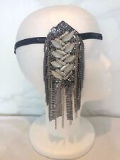 VINTAGE ART DECO DIAMANTE PEARL SILVER FASCINATOR BLACK SEQUIN HEADBAND GATSBY