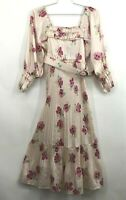 Nicholas Womens Floral Print Pleated Midi Belted Dress Long Sleeve Pockets 4