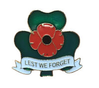 UK 2020 St Patrick's Day Celtic Three Shamrock Leaf Red Poppy Pin Badge Brooch