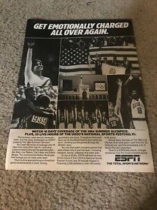 Vintage 1985 ESPN OLYMPICS Poster Print Ad 1984 SUMMER BASKETBALL PATRICK EWING