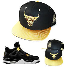 Mitchell & Ness Chicago Bulls Snapback Hat Air Jordan 4 Retro Royalty Gold Cap