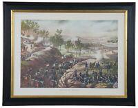 "Vintage Battle of Resaca American Civil War Framed Lithograph Art Print 1864 28"""