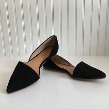 J Crew Black Suede Pointed Ballet Flats Size 8 D'orsay