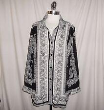 MAGGIE BARNES Plus Size 1X 18W 20W Blouse Shirt Top Black White Floral