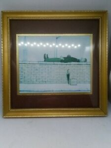 L.S Lowry MAN LYING ON A WALL Small  Framed Print Vintage Wooden Frame