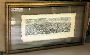 17th Century Panorama of Rome - Framed and Mounted Between Two Plates of Glass