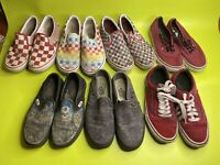 Lot Of 7 Well Worn Vans Slip On Old Skool Kids Size 4.5-5.5
