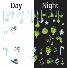 Nail Art Water Decals Glow in the Dark Christmas Snowman Winter Stars GID043