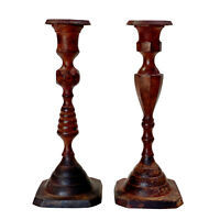 Vintage Farmhouse Cast Iron Red Aged Candle Stick Holders - a Pair