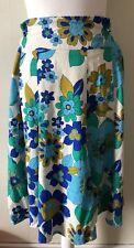 Linen Blend Retro Floral Pattern Skirt Size 14 Vintage Look Full Skirt 1970s