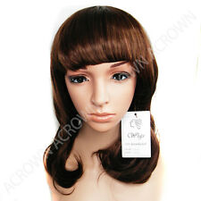 Medium Straight long Brown Curly Women fashion Wig disco party cosplay Hair