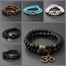 8MM Fashion Natural Obsidian Beads Double Winding Charm Buddha Beads Bracelets